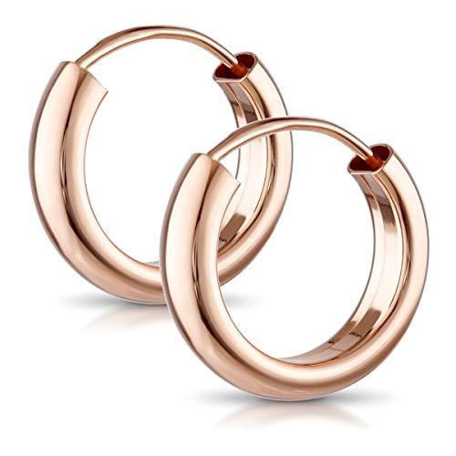 MATERIA Damen Ohrringe Creolen Rosegold 15mm - 925 Silber Kreolen klein Ringe vergoldet 3mm breit klein SO-112