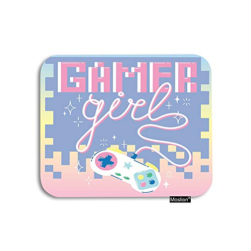 Moslion Game Girl Mouse Pad Vintage 90S Game Controller in Square Mosaics Sparkle Stars Gaming Mouse Pad Rubber Large Mousepad for Computer Desk Laptop Office Work 7.9x9.5 Inch