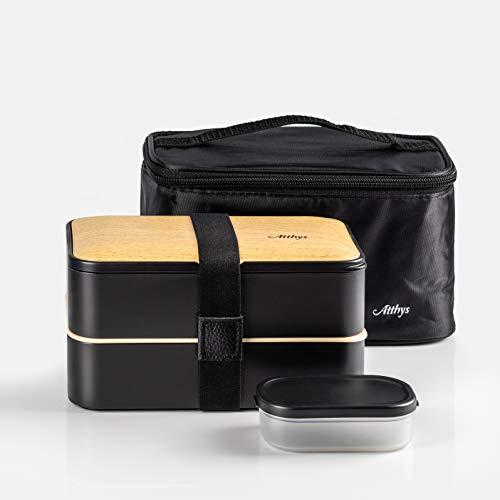 Atthys Fiambrera bento 1200 ml con Cubiertos: Tenedor/Cuchillo/Cuchara. Apta para microondas y lavavajillas. Caja de Almuerzo con 2 Compartimentos herméticos. Sin BPA. (Negro + Bolsa Termica)