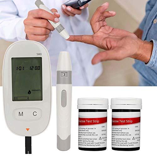 Qinlorgon Misuratore di glucosio nel Sangue Elettrico, Kit per Il Test del diabete, Monitor per misuratore di glucosio nel Sangue Elettrico per Uso Domestico con 100 Strisce reattive e 100 lancette