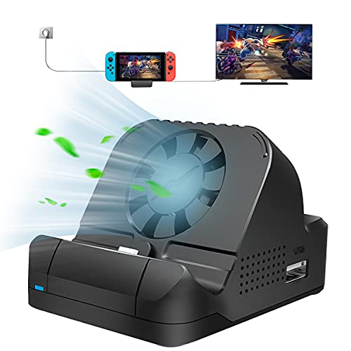 Switch TV Dock for Nintendo,Charging Dock with Cooling Fan,Portable Docking Stand for Nintendo Switch with 4K HDMI and 3 USB Port,Replacement Charging Dock for Nintendo Switch-2021 NEW