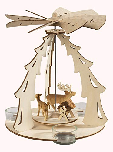 Saico Forest Pyramid for 3 Tea Lights, 19 x 30 x 23 cm, Brown