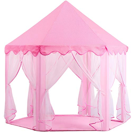 CSQ Children's Hexagonal Tent, Anti-mosquito Indoor Tent House Children's Fun Playhouse Pink Mesh Tent Dream Play Tent for Girls Children's play house (Color : Pink, Size : 70 * 130CM)
