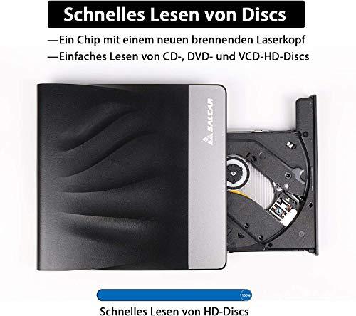 SALCAR Externes CD DVD Laufwerk USB 3.0 mit Type-C Tragabar Brenner Player Plug&Play DVD-RW Kompatibel mit Win10 /8/7/10/XP and Linux, Laptop, Desktop, Mac/MacBook Air/Pro/iMac
