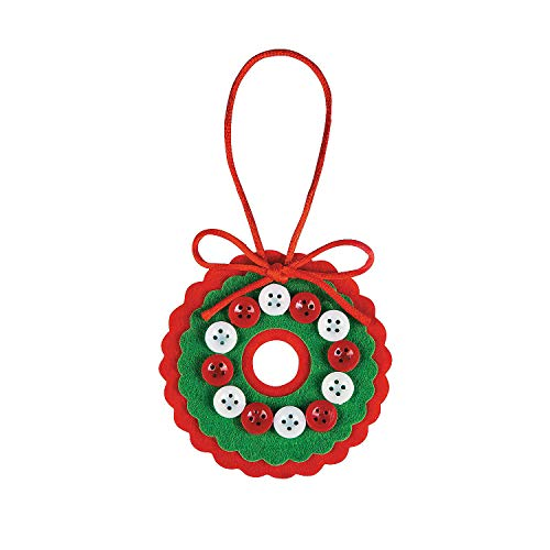 Felt Button Wreath Ornament Craft Kit 48Pc - Crafts for Kids and Fun Home Activities