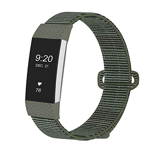 JUN1 Compatible with Fitbit Charge 3 Bands Soft Nylon Sport Wristbands for Men Women Lightweight Replacement Straps Accessories for Fibit Charge 3 Fitness Tracker (Olive)