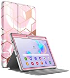 Popshine Marble Series for Samsung Galaxy Tab S6 Lite Case with S Pen Holder, Model SM-P610/P615, Full Body Premium 360 degree Protective Folio Cover with Built-in Screen Protector, Liquid Marble Pink