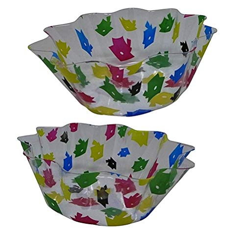 Multicolored Graduation Cap Toss Plastic Party Serving Bowls (Pack of 2) Grad 2020 Table Supply, Party Snack Fluted Bowls