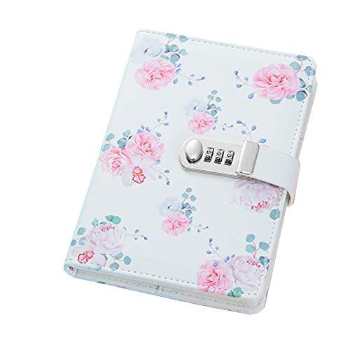A5 Cuaderno de Cuero PU Diario Planificado Organizador cuaderno diario registro diario con candado ,Cuaderno Diario de Cuero PU Vintage con Cerradura de Combinación, TPN112 Flores