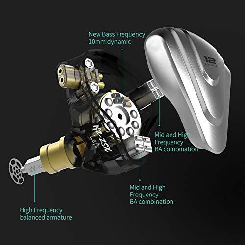 KZZSX5BA1DD12ユニットハイブリッドテクノロジースポーツHIFIインイヤーイヤホンリケーブル可能0.75㎜2Pin重低音カナル型イヤホン(マイクなし,ブラック)