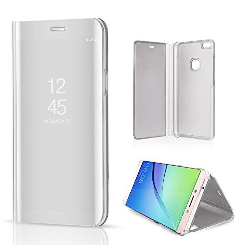 Miagon Spiegel Standing Schutzhülle für Huawei P10 Lite, Transluzent Aussicht PC-Vorderseite Metall-Galvanotechnik Silber Stilvolle Brieftasche Schale Etui für Huawei P10 Lite