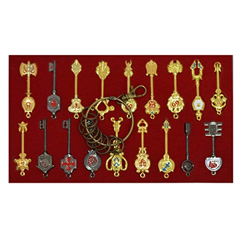 Cosplay Fairy Tail Keys New Collection Set of 18 Golden Zodiac Keys and Keyring,Blade Lucy Natsu Dragneel Heart Keychain Pendant (Red Logo)