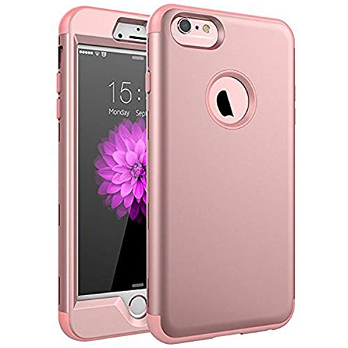 SKYLMW Case for iPhone 6 Plus, Case for iPhone 6s Plus, Three Layer Heavy Duty High Impact Resistant Hybrid Protective Cover Case for iPhone 6 Plus/6s Plus (Only for 5.5'), Rose Gold