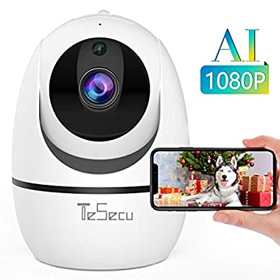 Tesecu Home WiFi Camera 1080p Security Camera Wireless IP Camera Baby Monitor Indoor Pet Dog, AI Human Detection, 2-Way Audio, Phone App, Pan/Tilt, Night Vision…