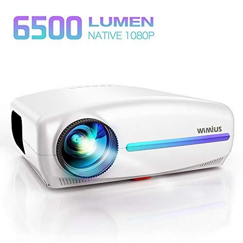 Videoproiettore,WiMiUS 6500 Lumen Proiettore Nativa 1920 x 1080P LED Full HD Supporto 4K Videoproiettore 4D Keystone Correzione ±50°Per Home Theater,PS4,Presentazione PPT,Con VGA HDMI AV USB