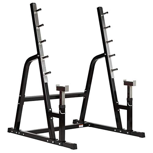 Mirafit Heavy Duty Weight Lifting Rack & Bench Press Spotter - Black & Stainless Steel