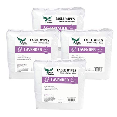 Texas Ragtime Eagle Wipes Lavender & Vinegar 1250ct (4 Rolls, 5000 Wipes) Gym & Fitness Equipment Wipes Ideal for Yoga Mats, Dance Studios, Pilates Wipes Refill Case of 4 Rolls