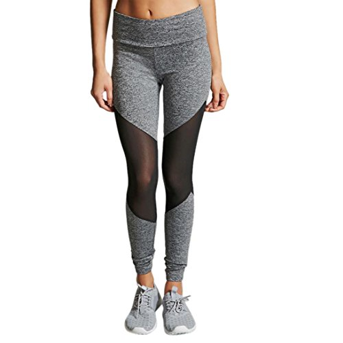 Women Yoga Pants, Neartime High Waist Sports Gym Leggings Mesh Patchwork Running Fitness Pants Workout Clothes (M, Gray)