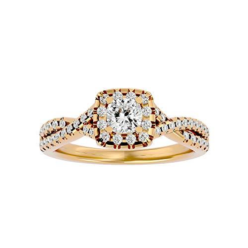 Anillo infinito certificado con cojín central de moissanita de 0,47 quilates y diamante natural redondo lateral de 0,3 quilates en oro blanco de 14 quilates, anillo solitario (F-VVS1, IJ-SI)