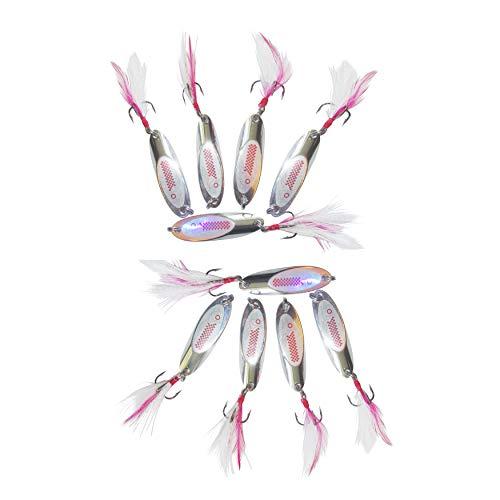 10er Set Weitwurfblinker 15g Angelzubehör zum angeln von Hecht Barsch Meerforelle Forelle Zander Blinker Spinner Kunstköder Köder für weite Würfe Angelköder Streamer Angelhaken Angel Zubehör Spoon
