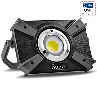 Sunix 30W LED Work Light Spotlight, Work Light 4 Modes with Red Light, IP64 Water Resistant, Built-in Rechargeable Batteries 1600LM
