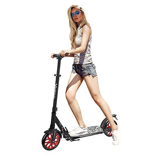 Kickscooter für Erwachsene, 20cm /200mm Großes Rad Scooter Cityroller für Kinder ab 10 Jahre und Teenager, klappbar Tretroller, Höhenverstellbar Roller mit Tragegurt (Rot)