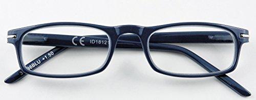 Occhiali da lettura zippo uomo donna unisex blue + 2.00 diottrie 31Z-B6-BLU, occhiali da vista da 2 diottrie premontati per presbiopia, montatura in policarbonato e asta con sistema flex