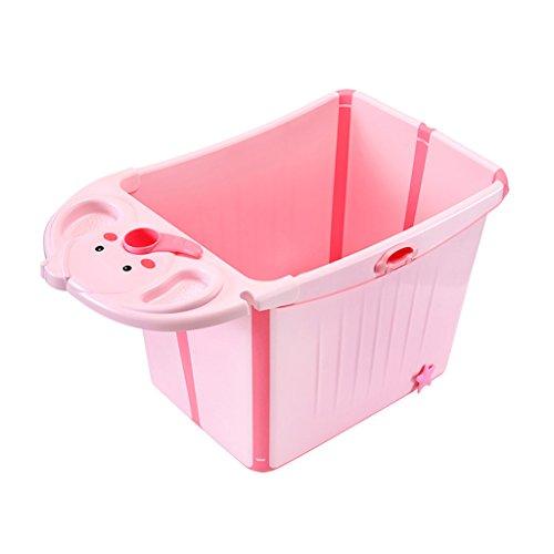 Bañera bebé Plegable Multifuncional Se Puede sentar Plástico Portátil de Uso doméstico bebé de 0-12 Años Cómodo Desgaste/Estabilidad Seguridad Portátil/Material Verde, Rosa (87 * 47 * 49cm)