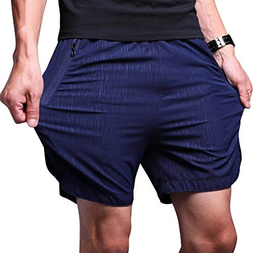 LTIFONE Mens Gym Quick Dry Shorts Workout Training Running Vertical Stripe Shorts with Zipper Pocket (Blue,M)