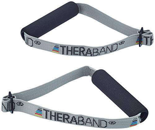 TheraBand Resistance Band Handles, Soft Handles Pair, Accessories for Elastic Resistance Bands & Tubes, Exercise Equipment for Home Gym, Overhead Strength Training, & Stretching, Use with Door Anchor