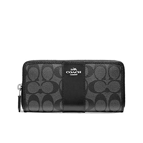 Coach Signature Accordian Zip Wallet in PVC Leather Smoke Black F54630