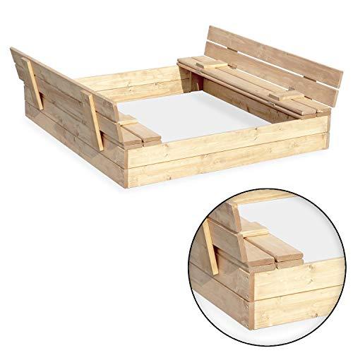 Sandkasten Sandbox Sandkiste mit Klappdeckel Sitzbänken 120x120x20 Kiefernholz mit Anti-Unkraut Bodenplane Deckel und Bank Buddelkasten Quadratisch Gartenspiel Natur Nicht lackiert - 2