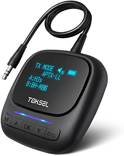 TOKSEL Visible Bluetooth 5 0 Transmitter Receiver for TV PC 2 in 1 Wireless Bluetooth Adapter product image