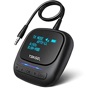 TOKSEL Visible Bluetooth 5.0 Transmitter Receiver for TV PC Home Stereo, 2-in-1 Wireless Bluetooth Adapter with OLED Display Screen, Volume Control, aptX Low Latency for Car / Nintendo Switch
