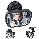 Rücksitzspiegel fürs Baby, HICOO Spiegel Auto Baby Rücksitzspiegel mit Saugnäpfe und Klammer,...