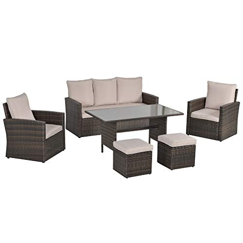 Outsunny 6 PCS Outdoor Patio Dining Table Sets All Weather PE Rattan Sofa Chair Furniture set Indoor Outdoor Backyard Garden with Cushions & Mixed Brown