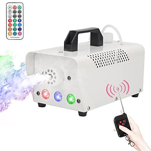 UKing Mini máquina de niebla de 500 W, máquina de niebla con mando a distancia inalámbrico y 7 luces LED de colores, para Halloween, festivales, bodas, fiestas, teatro, discotecas, DJ, efectos...
