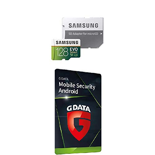 Samsung MB-ME128GA/EU EVO Select 128 GB microSDXC UHS-I U3 Speicherkarte inkl. SD-Adapter Weiß/Grun + G DATA Mobile Security Android 2020 | 3 Geräte, Aktivierungscode in frustfreier Verpackung