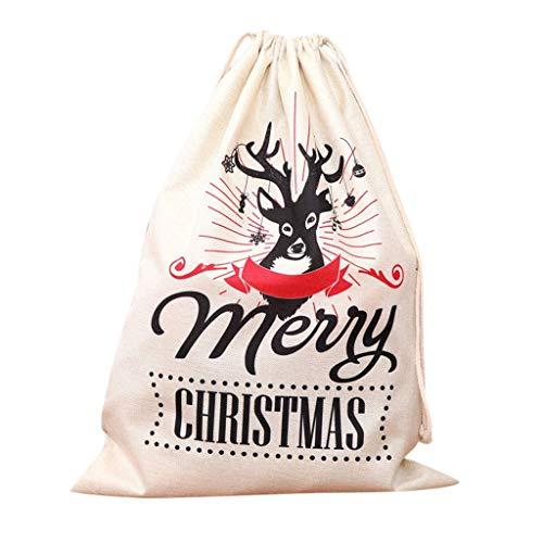 HEVÜY Weihnachten Theme Geschenkbeutel mit Kordelzug Weihnachtsmann Süßigkeitensack Geschenk Paket geschenkbeutel Süßigkeiten Süße Tasche 65x47cm