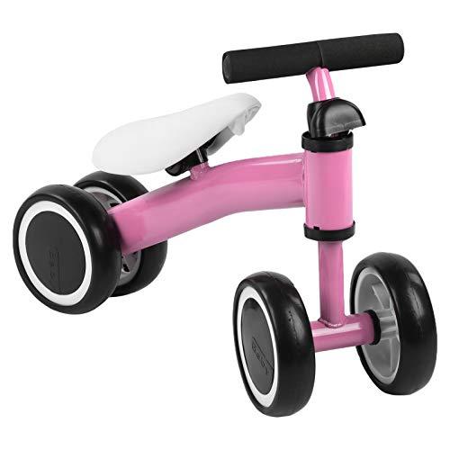 Bicicleta de Juguete para Niños, Bicicleta de Equilibrio para Bebés Bicicleta Sin Pedales para Bebés con 4 Ruedas Límite de dirección de 135 Grados durante, para10-36 Meses 17 x 48,5 x 36,2 cm(Rosa)