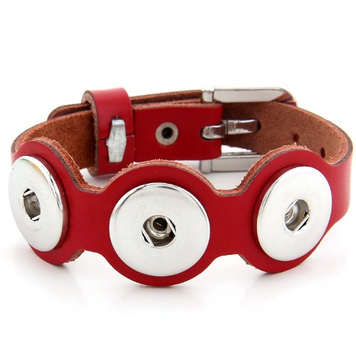 Morella Unisex Armband Leder für Click-Button Knöpfe rot