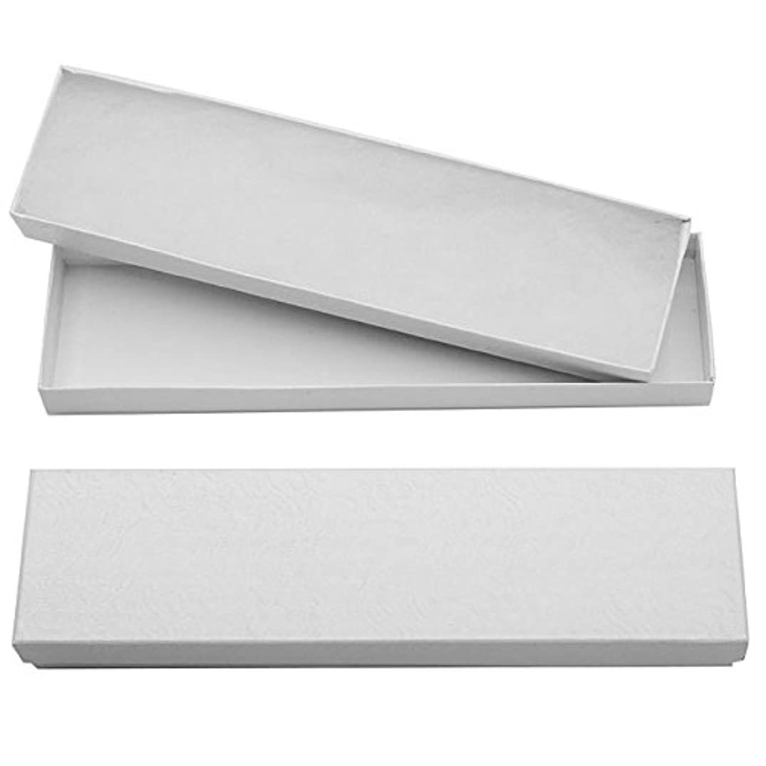 Beadaholique White Cardboard Jewelry Boxes with Swirls 8 x 2 x 1 Inches (16)