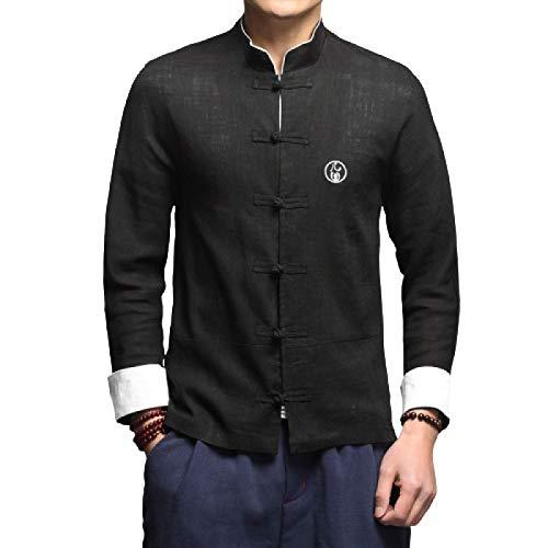 Camisa de Ajuste Regular para Hombre Primavera y Verano Estilo Chino Botón de Disco Bordado Simple Camisa Informal de Manga Larga L