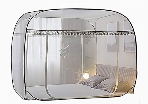 Folding Portable Spacious Mosquito Net Tent Luxury Bed Canopies for King/Queen/Single Bed Self- Standing Quick Easy Setup Three Doors Available (180W200L170H Bottomless)