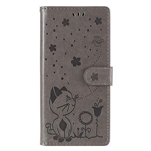 NEINEI Handyhülle für Sony Xperia Pro Hülle,PU/TPU Lederhülle Klapphülle mit Magnetisch,Kartenschlitz,3D Katze & Biene Muster Tasche Schutzhülle Flip Cover Hülle,Grau