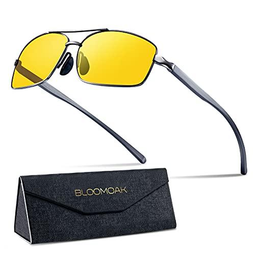 Bloomaok Polarisierte Sonnenbrille Herren Fahren Sonnenbrille 100% UV400 Schutz Polarisierte Outdoor Sportbrille Sonnenbrille mit Classic Al-Mg Metallrahmen (Gelb)