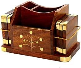 Stonkraft Wooden Rosewood Desk Organiser, Coaster/Coasters Set, Pen Stand, Business Card Holder With Brass Work (Office Table Accessories) - DeskOrganiser-Coaster