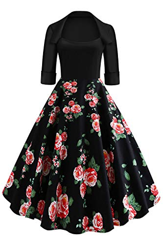 Axoe Abito da donna vintage anni '50 Rockabilly floreale con maniche Floral11 46