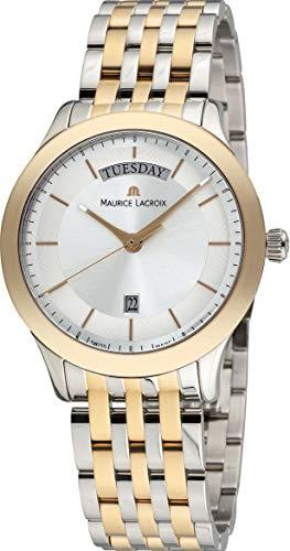 Maurice Lacroix Les Classiques Reloj para hombre con fecha, esfera plateada LC1227-PVY13-130