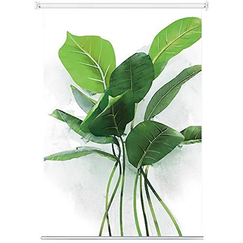 LJFPB Persiana Enrollable Persiana Aislamiento de Verano Plantas Verdes Impresión HD Decoración hogareña 100% Impermeable Fácil instalación Variedad de tamaños (Size : 80x200cm)